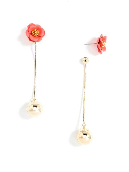 Flower Bud Earrings coral