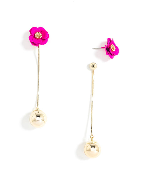 Flower Bud Earrings hot pink