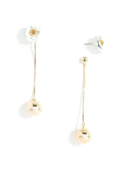 Flower Bud Earrings white