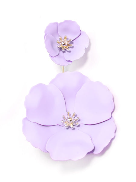 Flower Power Drop Earrings purple