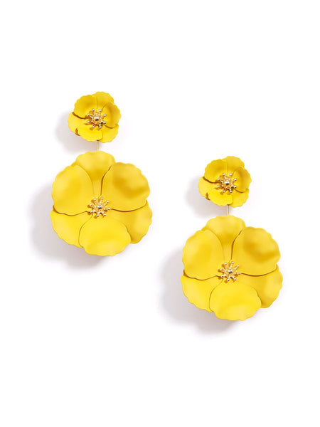 earrings - Flower Power Drop Earrings - Girl Intuitive - Zenzii - Yellow
