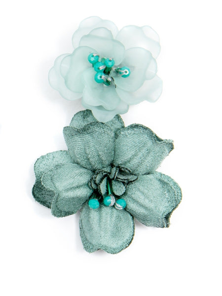 Realistic Floral Drop Earrings green