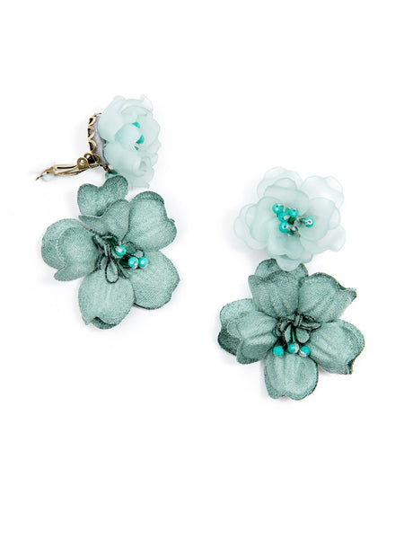 Realistic Floral Drop Earrings clip on green