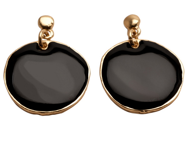 Enamel Covered Round Disc Earrings gold and black