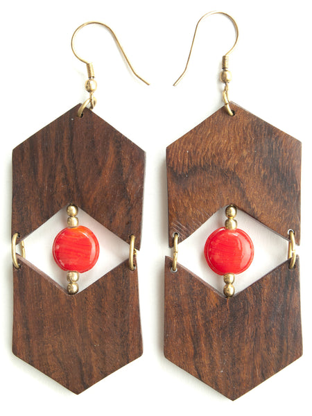 Fair trade - Eyes and Arrows Wood Earrings - Girl Intuitive - Mata Traders -