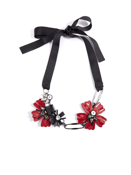 Embellished Flower And Ribbon red Necklace