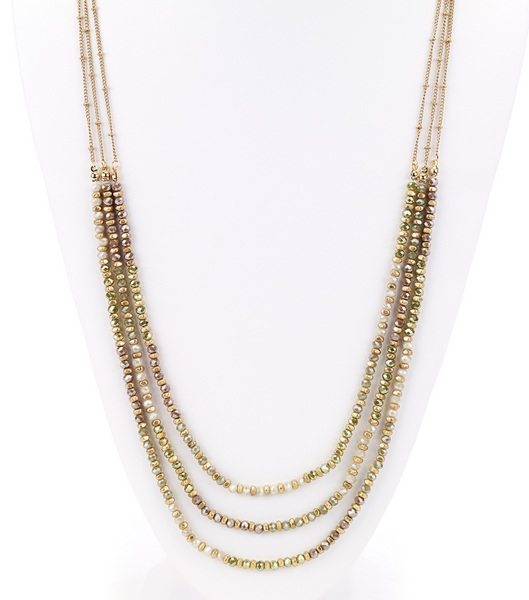 Faceted Beads Layered Long Necklace green