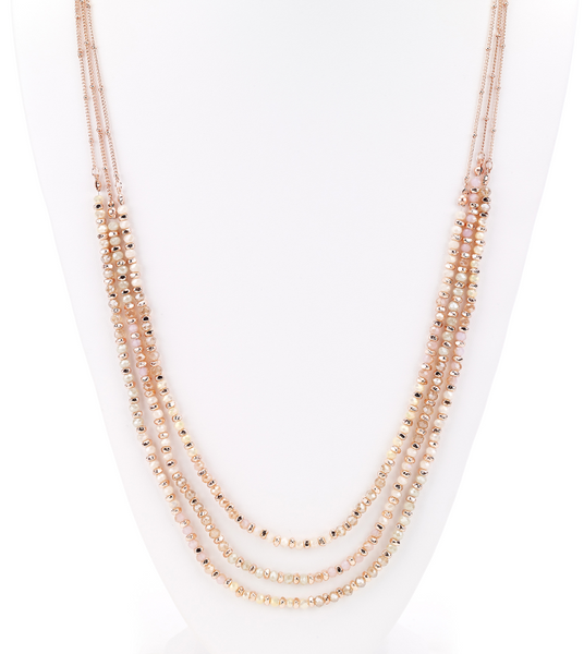 Faceted Beads Layered Long Necklace rose gold