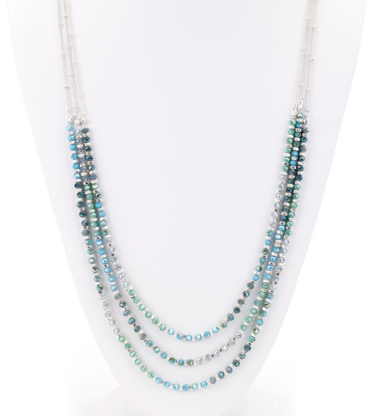 Faceted Beads Layered Long Necklace turquoise