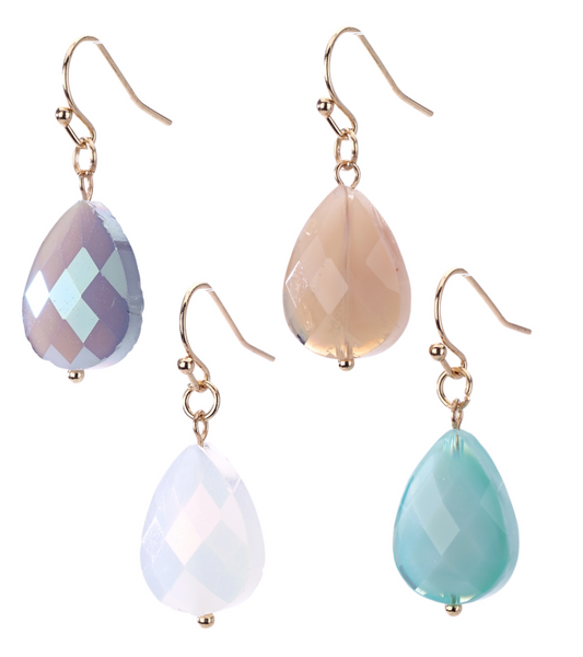Faceted Teardrop Earrings