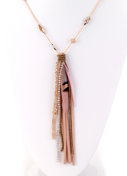 Feather Pendant Necklace coral