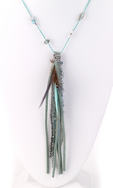 Feather Pendant Necklace turquoise