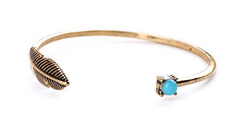 Turquoise and Feather Bangle Bracelet