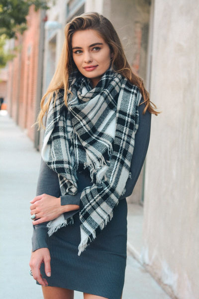 Flannel Frayed Edge Blanket Scarf
