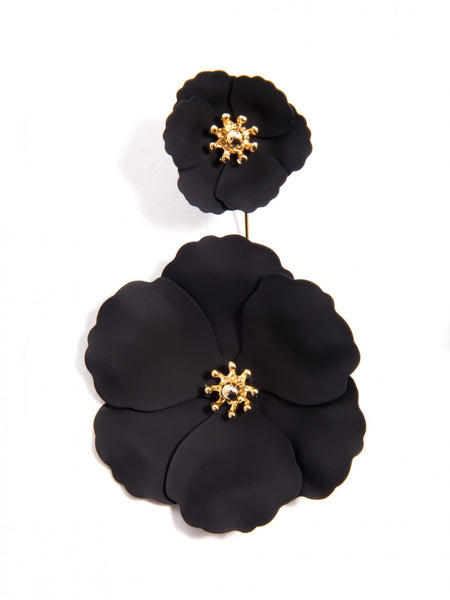 Flower Power Drop Earrings black