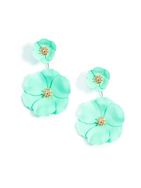 Flower Power Drop Earrings green
