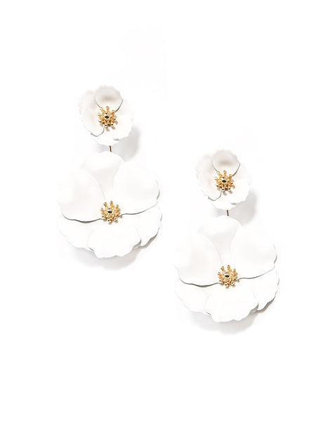 Flower Power Drop Earrings white