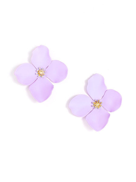 Flower Statement Stud Earrings lavender