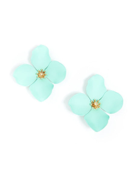 Flower Statement Stud Earrings mint