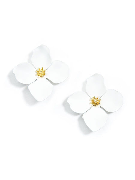 earrings - Flower Statement Stud Earrings - Girl Intuitive - Zenzii - White