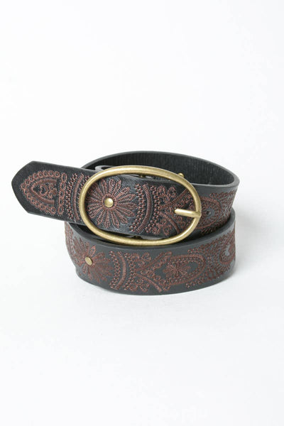 Floral Stitch Oval Buckle Belt