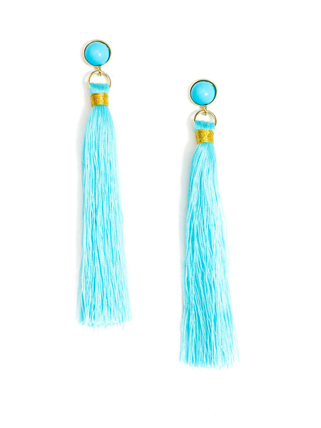 Fringe-Eaze Tassel Earrings blue