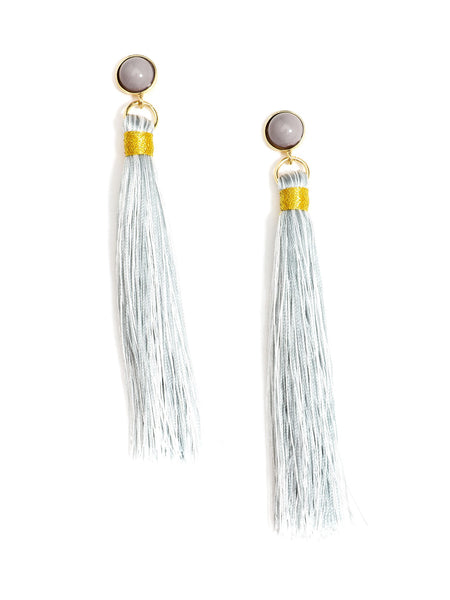 Fringe-Eaze Tassel Earrings gray