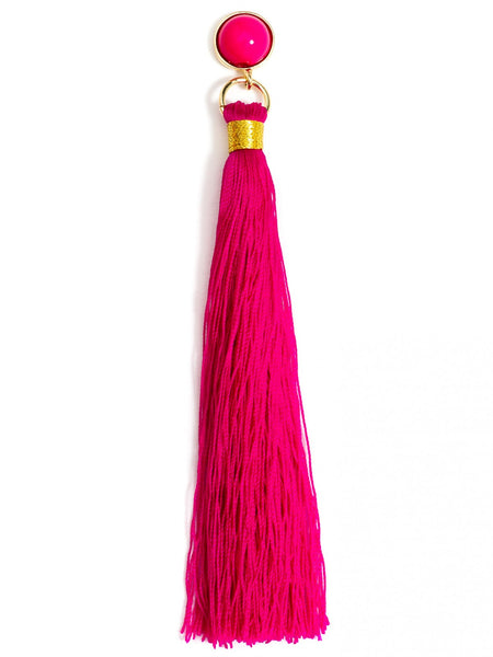 Fringe-Eaze Tassel Earrings hot pink