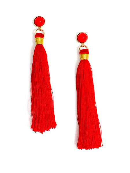 Fringe-Eaze Tassel Earrings red