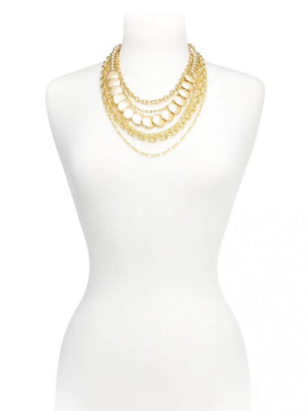 Gold Bib Layered Necklace model
