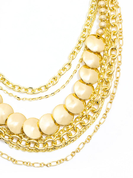 Gold Bib Layered Necklace zoom