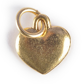 puffy heart charm gold