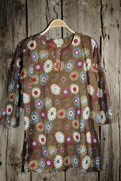 Green Khaki Cotton Tunic Top with Bright Floral