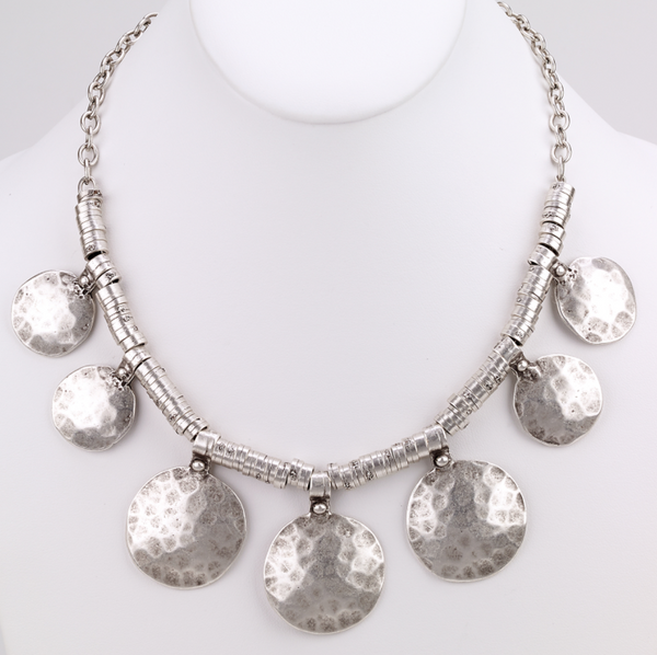 Hammered Discs Turkish Collar Necklace silver