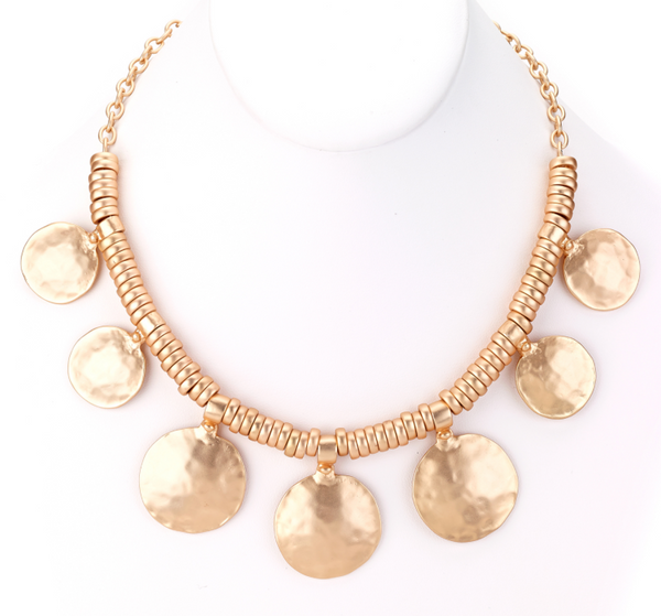 Hammered Discs Turkish Collar Necklace gold