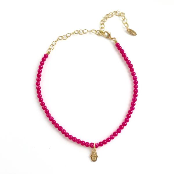 Hamsa Choker in Fushia and Gold