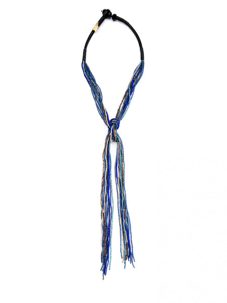 Handmade Beaded Lariat Necklace blue