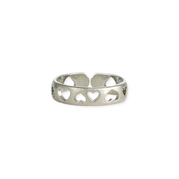 Ring - Silver Hearts Adjustable Toe Ring - Girl Intuitive - zad -