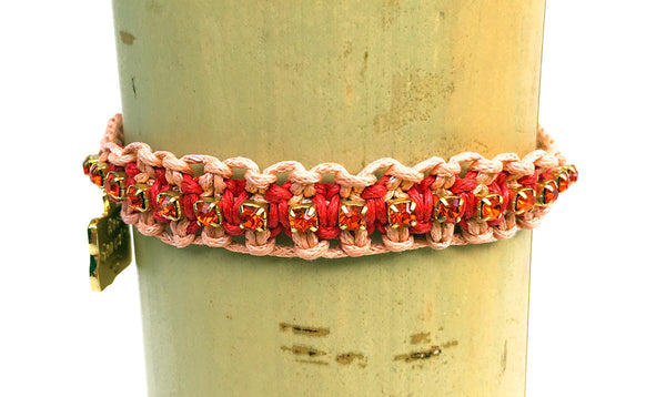 Heather Friendship Bracelet in Peach and Red