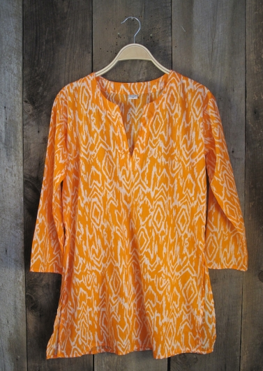 Ikat Print Tunic Orange