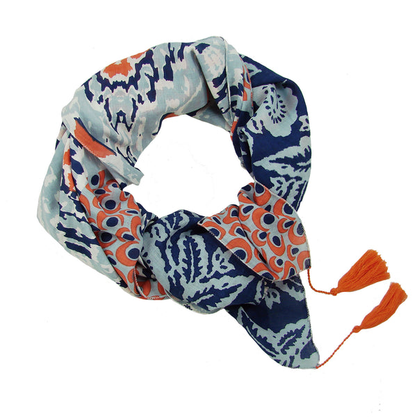 Ikat Patchwork Scarf Denim