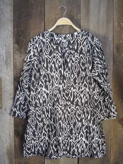Ikat Print Tunic Black and White