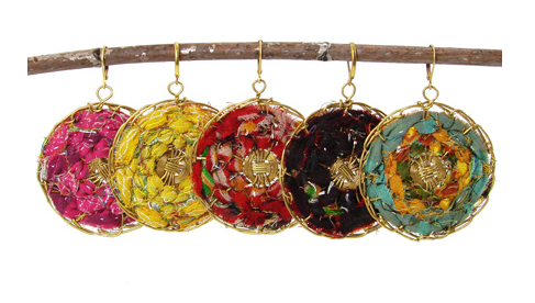 Kantha Woven Round Earrings