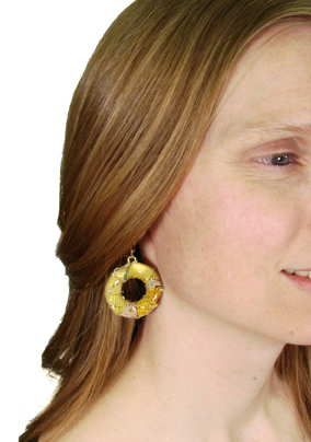 Kantha Wrap Hoop Earrings model