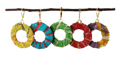 Kantha Wrap Hoop Earrings