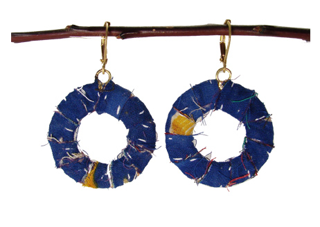 Kantha Wrap Hoop Earrings blue