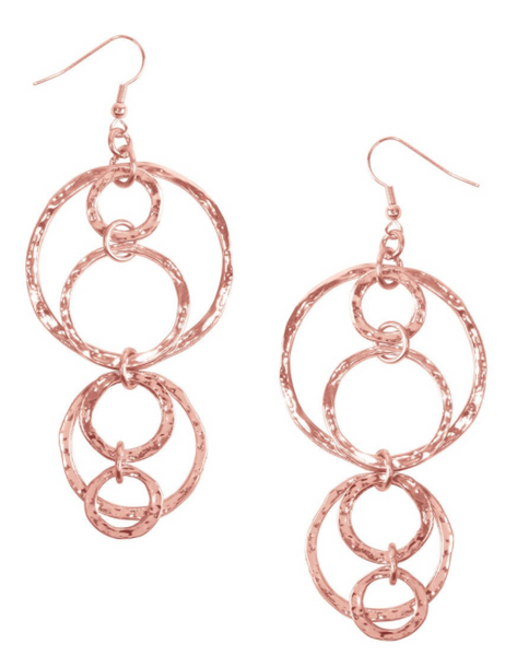 Karine Sultan Long Dangle Earrings in Rose Gold