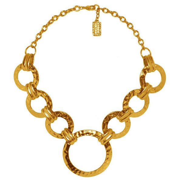 Karine Sultan Hammered Circle Rings Short Necklace