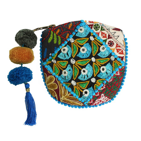 Kutch Pom Pom Coin Purse blue