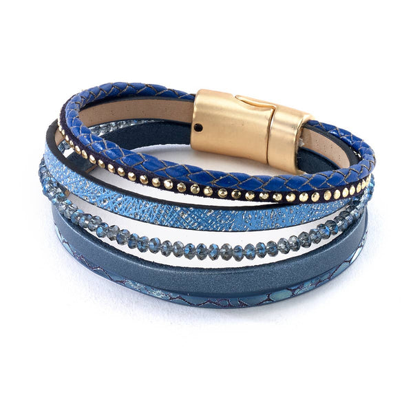 Lapis Blue Leather Bracelet
